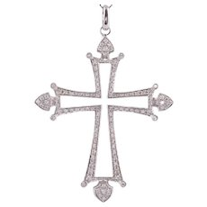 18KW Diamond Cross Pendant on Chain