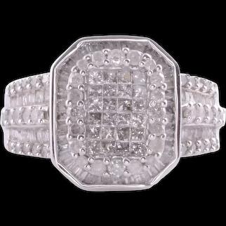 Vintage Diamond Cluster 14KW Ring