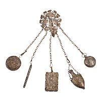 Repousse Silver Metal Chatelaine