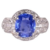 3.60 Carat Oval Sapphire and Diamond Platinum Ring