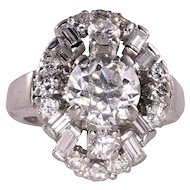 1.76 Carat Center Diamond Platinum Ring
