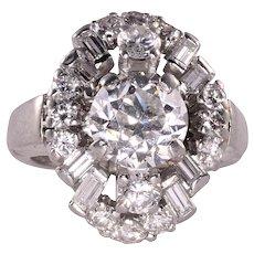 1.76 Carat Center Diamond Platinum Ring