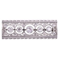 14 Karat White Gold 1.36 CTW Diamond Brooch