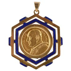 Gold Pope John XXIII Commemorative Pendant