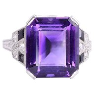 Syn. Amethyst Onyx & Diamond Platinum Ring