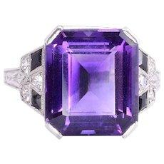 Syn. Amethyst Onyx & Diamond Platinum Ring