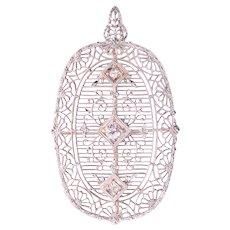 Art Deco Filigree Diamond Brooch or Pendant