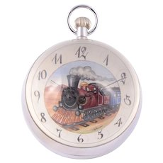Custom Painted Locomotive Dial Glass Ball Clock