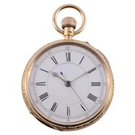 Double Sunk Enamel Dial 18K Pocket Watch