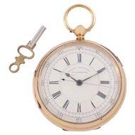 18 Karat Engraved Gold Pocket Watch by Harris Bernstein, Manchester