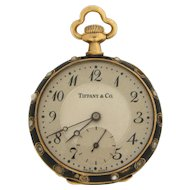 Ladies Pendant Watch with 14 Karat Gold and Enamel Case by Longines for Tiffany