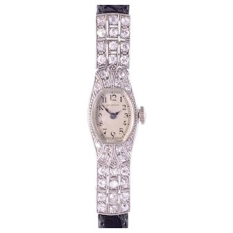 Tiffany and Co Ladies Platinum Diamond Wrist Watch