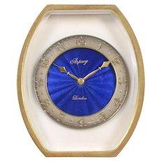 Asprey of London Blue Enamel Gilt Travel Clock