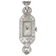 Ladies Platinum and Diamond Art Deco Wrist Watch by Tiffany