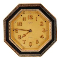 English Octagonal Desk Clock in Silver and Enamel Case by Asprey of London