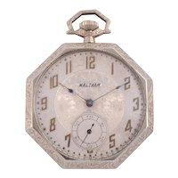 Waltham Octagonal White Gold Pocket Watch