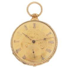 Swiss 18 Karat Yellow Gold Pocket Watch by M J Tobias