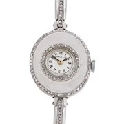 Swiss Ladies Platinum Diamond Wrist Watch by Shreve & Co.