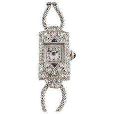 Swiss Ladies Platinum, Diamond and Sapphire Wrist Watch by Breguet