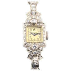 American Platinum Diamond Ladies Wrist Watch by Hamilton