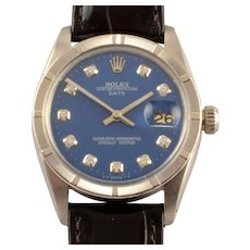 Swiss Mens Blue Dial Oyster Perpetual Rolex Wrist Watch