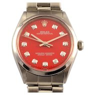 Swiss Mens Rolex Oyster Perpetual Red Dial Wrist Watch