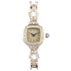 Waltham Platinum and White Gold Diamond Wrist Watch
