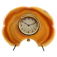 Brazilian Agate Framed Desk Clock by Cartier