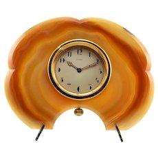 Brazilian Agate Framed Desk Clock by Cartier