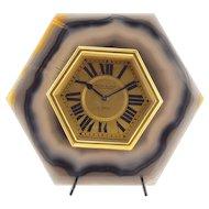 Mappin & Webb Brazilian Agate Desk Clock