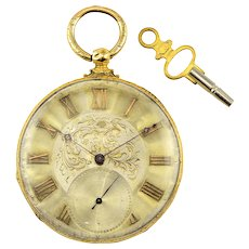 MJ Tobias 18K Gold Open Case Pocket Watch