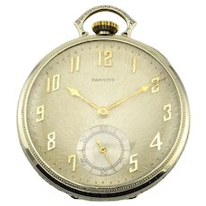 Hamilton Pocket Watch with Original Burnished Silver Dial