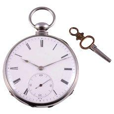 Brinsman Bros Mens Engraved Silver Pocket Watch