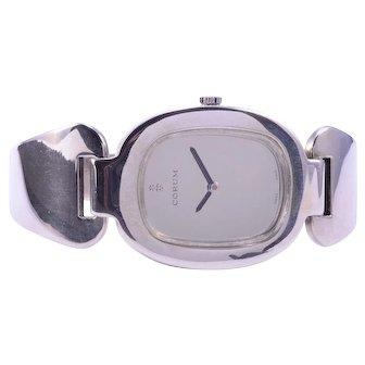 Rare Corum Sterling Silver Cuff Wrist Watch