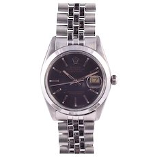 Rolex Datejust Flat Black Dial Wrist Watch
