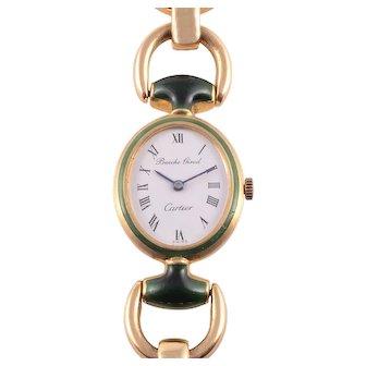 Cartier 18 Karat Gold Green Enamel Ladies Wrist Watch