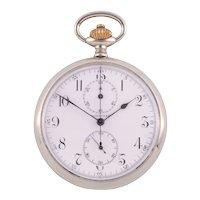 Longines Nickel Silver Chronograph Pocket Watch