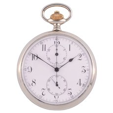 Longines Nickel Silver Chronograph Pocket Watch