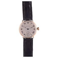Waltham 14K Gold Military Model Mens Wrist Watch