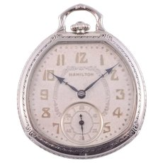 Hamilton White Gold Filled Pocket Watch