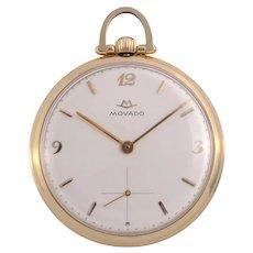 Movado Open Face 14K Pocket Watch
