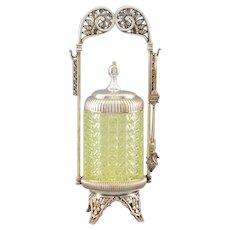 American Vaseline Glass Pickle Castor by Hartford Silver Co