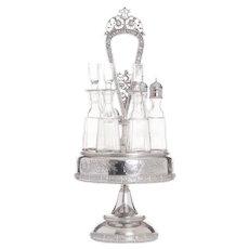 Meriden Silver Plate Six Bottle Castor Set