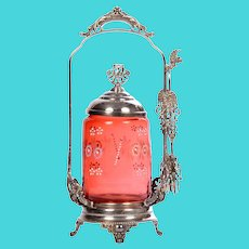 Homans Hand Enameled Cranberry Glass Pickle Castor