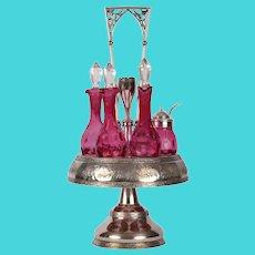 Wilcox Silver Co Cranberry Glass Six Bottle Castor Set