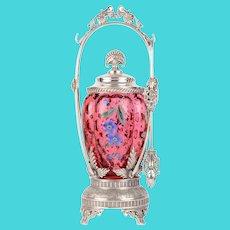 Aurora Silver Plate Co Cranberry Glass Pickle Castor
