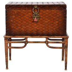 Leather Trunk on Stand