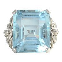 25.50 Carat Aquamarine Ring with Diamonds