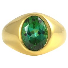 22K Yellow Gold Mens Green Tourmaline Ring
