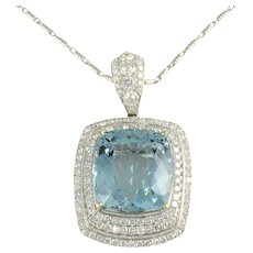 GIA Certified 26.85 Carat Aquamarine Pendant Enhancer with Diamonds